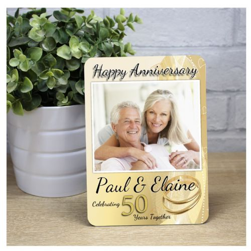 Personalised Golden 50th Wedding Anniversary Wood Photo Panel Frame Print Gift F38